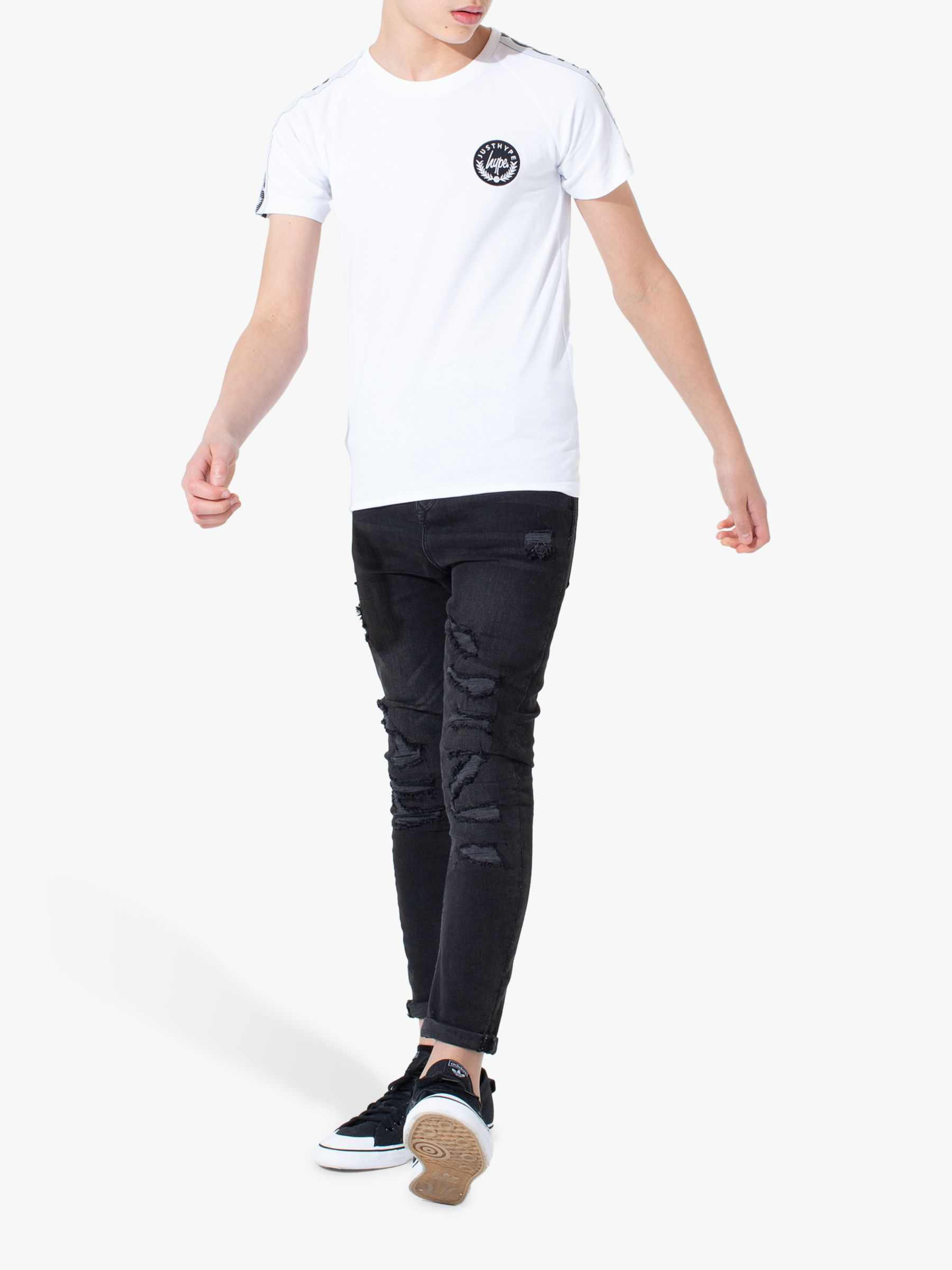 Hype Hype Boys' Speckle Tape T-Shirt, White