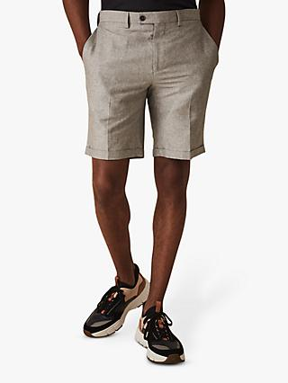 Reiss Time Cotton Linen Shorts, Light Grey