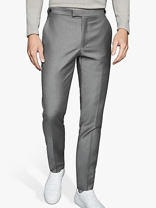 Reiss Woking T-Flannel Wool Suit Trousers, Soft Grey