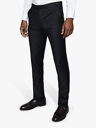 Reiss Woking T-Flannel Wool Suit Trousers, Navy