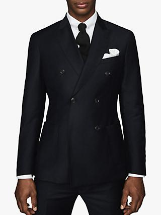 Reiss Woking Flannel Wool Double Breasted Suit Jacket, Navy