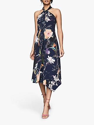 Reiss Yasminda Rain Forest Dress, Navy