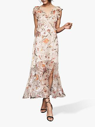 Reiss Leila Burnout Maxi Dress, Blush/Multi