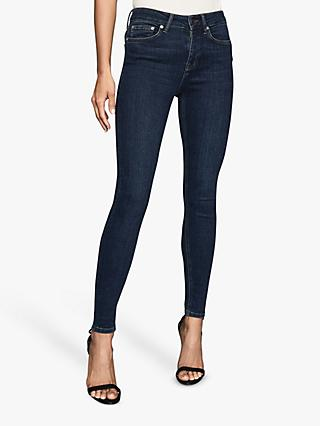 Reiss Lux Mid Rise Skinny Jeans, Washed Blue