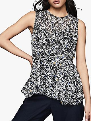 Reiss Harley Burnout Ditsy Top, Blue