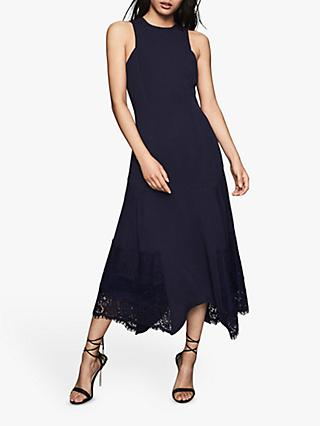 Reiss Romi Lace Back Midi Dress, Navy