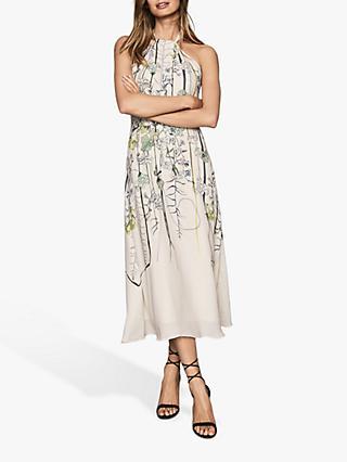 3d80dd77ad3 Reiss Kayla Watercolour Flower Halterneck Dress, White/Multi