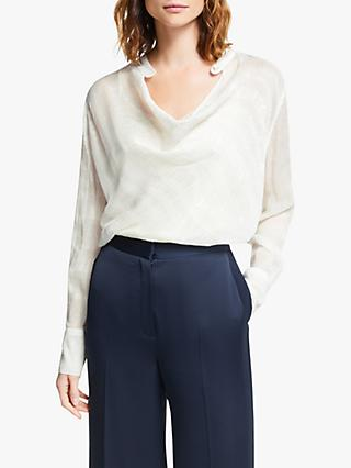 Modern Rarity Clipped Jacquard Cowl Neck Top, White