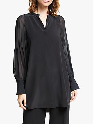 Modern Rarity Silk Pleat Sleeve Top, Black