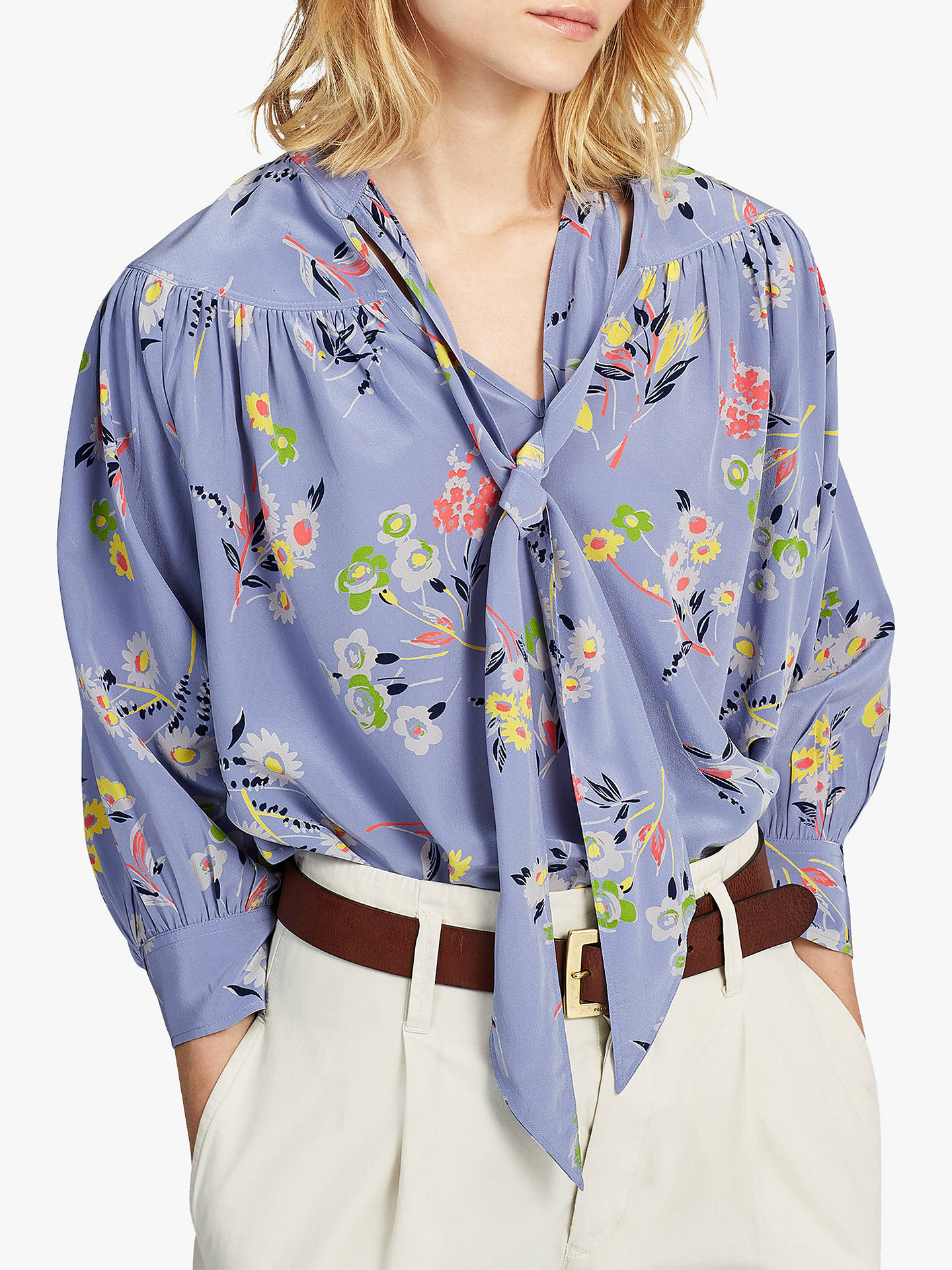 f1ec035a8 Buy Polo Ralph Lauren Floral Print Tie Neck Silk Blouse, Moody Blue, XXS  Online ...