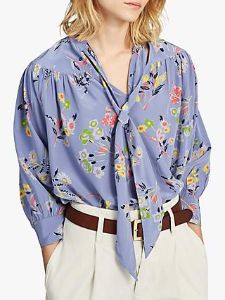 e290282f Polo Ralph Lauren Floral Print Tie Neck Silk Blouse, Moody Blue