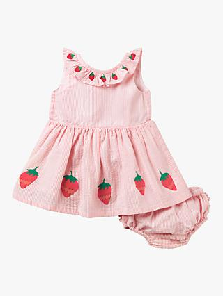 Mini Boden Baby Strawberry Stripe Dress and Knickers, Pink
