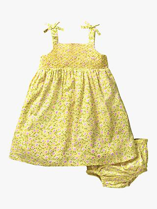 Mini Boden Baby Flowery Dress and Knickers, Yellow Primrose