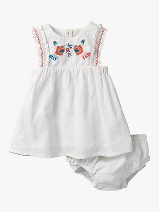 Mini Boden Baby Bird Embroidered Dress and Knickers, White
