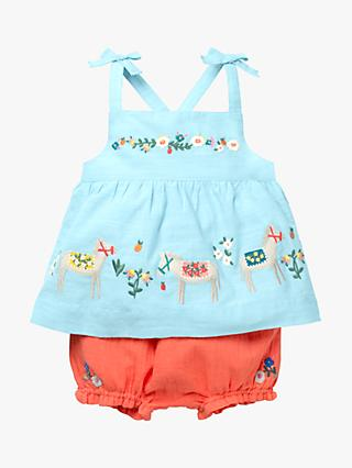 Mini Boden Baby Floral Farm Friends Embroidered Play Set, Blue