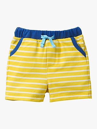 Mini Boden Baby Fun Stripe Jersey Shorts,Yellow/White