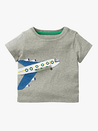 Mini Boden Baby Aeroplane Appliqué T-Shirt, Grey Marl