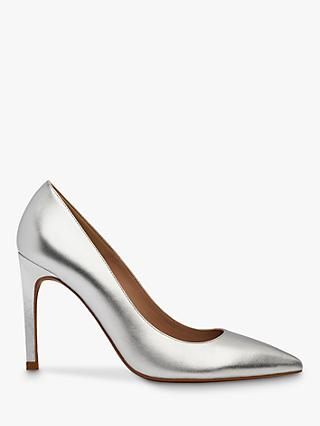 Whistles Cornel Stiletto Heel Leather Court Shoes, Silver