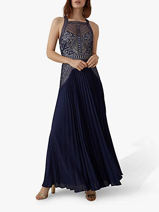Karen Millen Pleated Lace Maxi Dress, Navy