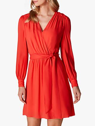 Karen Millen Ruched Wrap Dress, Red