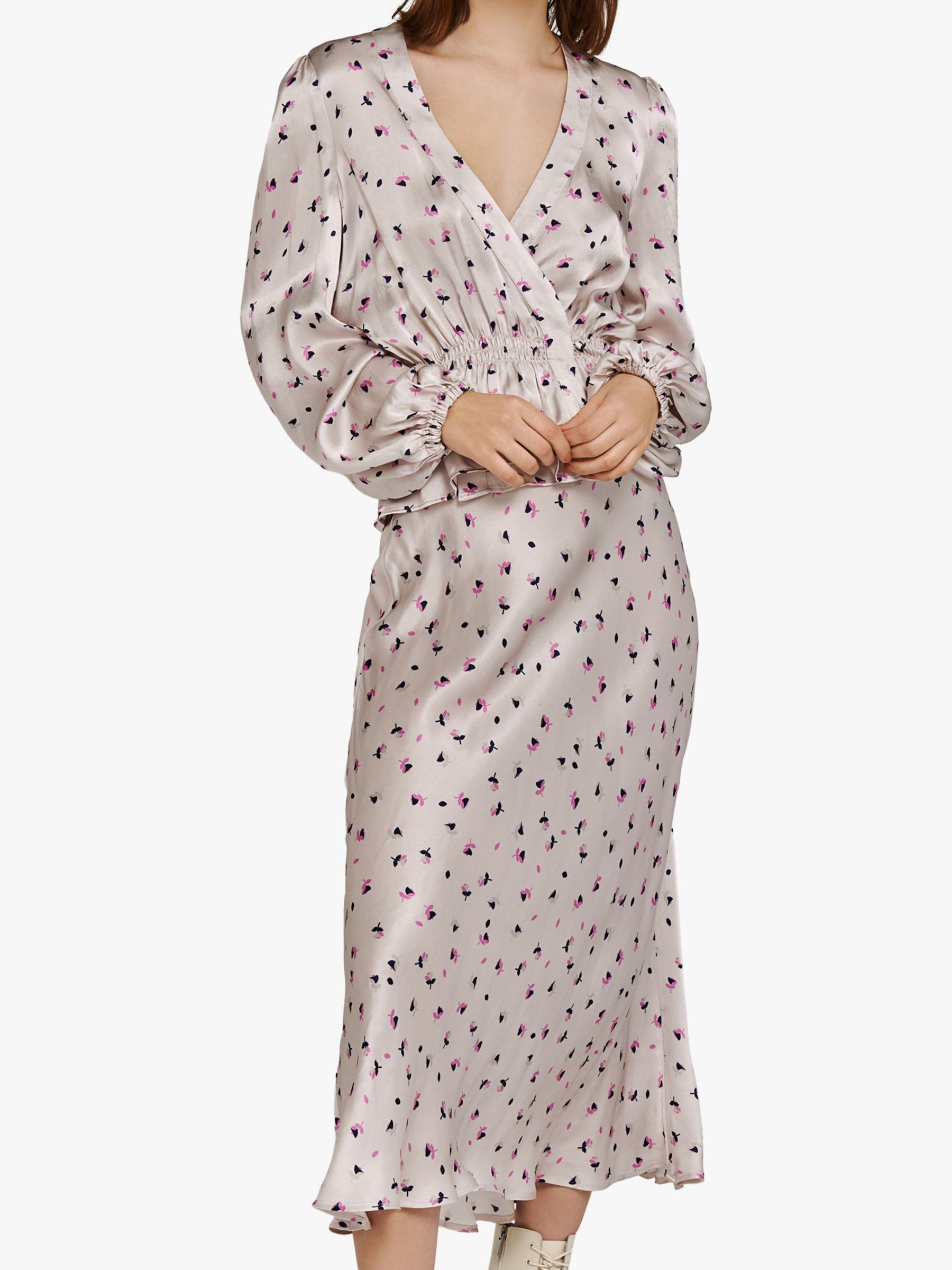 Ghost Ghost Elyse Floral Print Satin Top, Dallas Ditsy