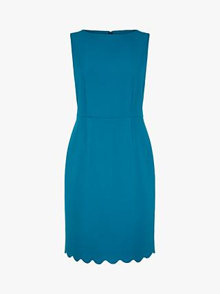 Jaeger Scallop Hem Dress, Teal