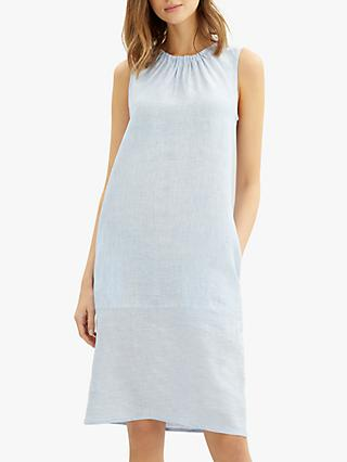 Jaeger Fine Stripe Linen Dress, Light Blue