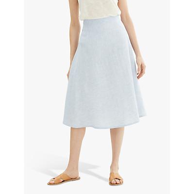 Jaeger Fine Stripe Linen Skirt, Blue
