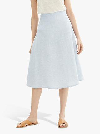 Jaeger Fine Stripe Linen Skirt, Blue