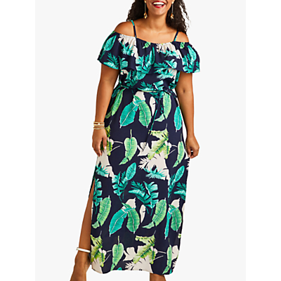 Product photo of Yumi curves palm print maxi dress with side splits navy multi