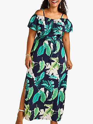 d360304ceb7 Yumi Curves Palm Print Maxi Dress With Side Splits