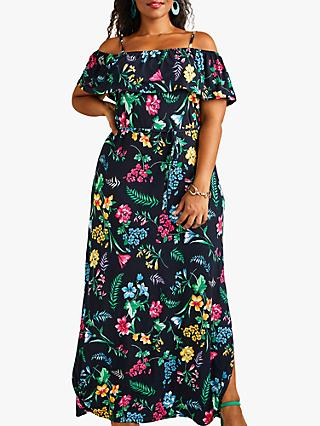 Yumi Curves Tropical Printed Jersey Maxi Dress, Black/Multi