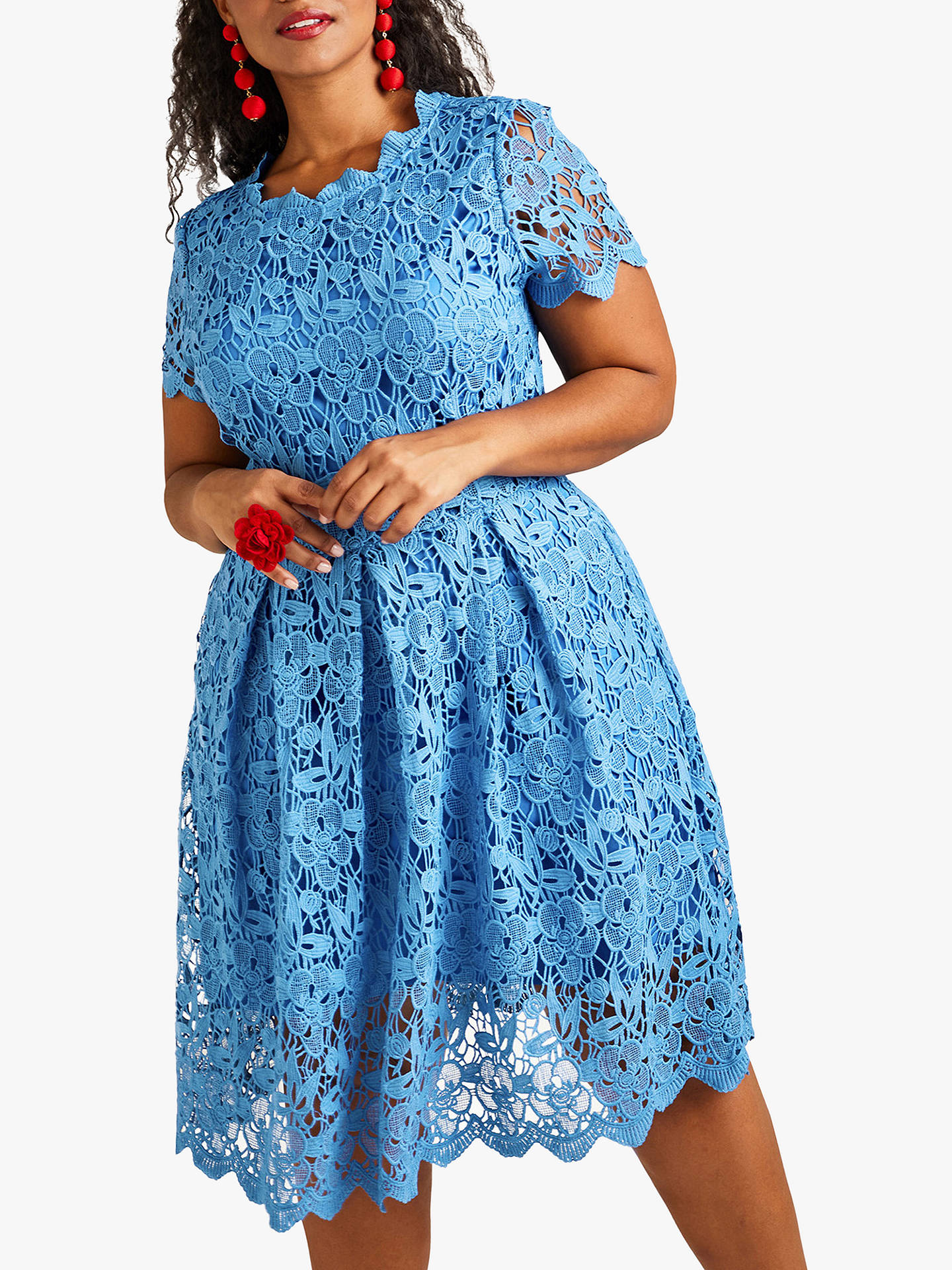 c3c7e5ce541 Buy Yumi Curves Floral Lace Prom Skater Dress, Blue, 18 Online at johnlewis.