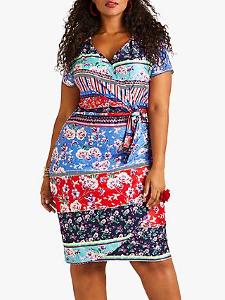 Yumi Curves Patchwork Stripe Jersey Dress, Multi