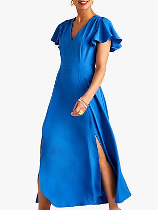 Yumi Ruffle Sleeve Midi Dress, Blue
