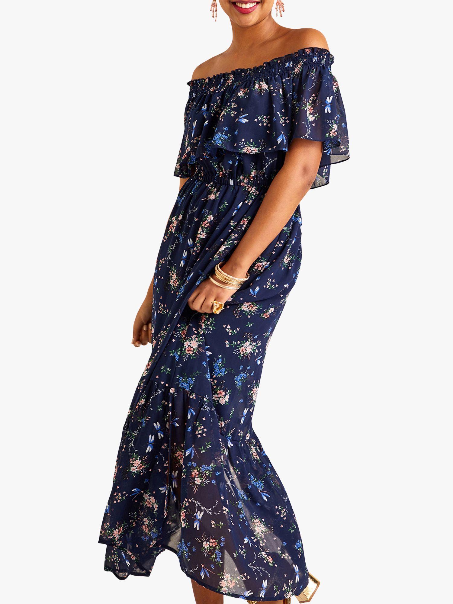 Yumi Yumi Dragonfly and Flower Print Bardot Maxi Dress, Blue