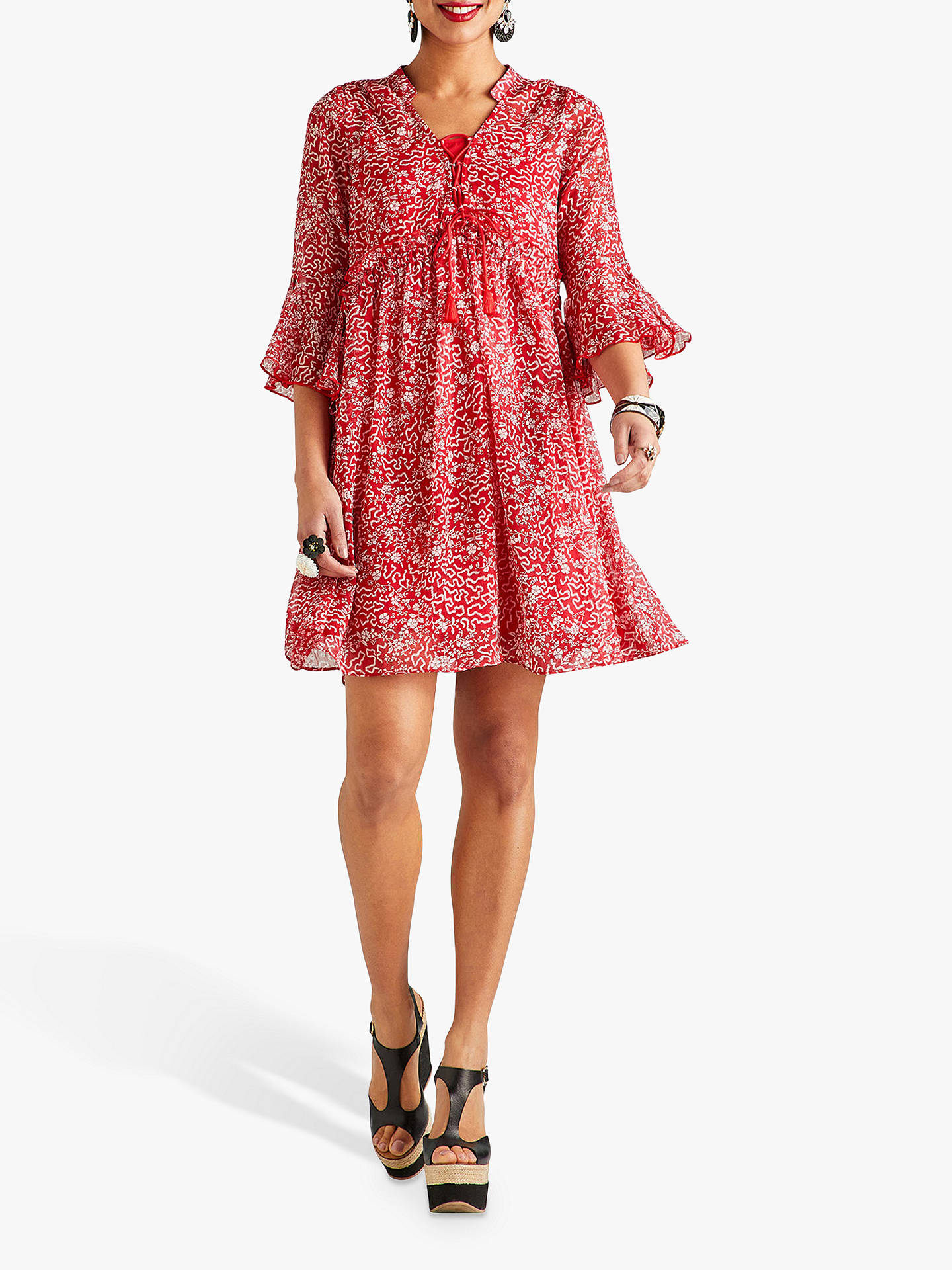 d596a294e6fae ... Buy Yumi Abstract Print Ruffle Dress, Red, 8 Online at johnlewis.com ...