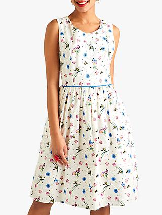 Yumi Flower Bee Pleated Floral Dress, Ivory