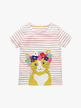 Mini Boden Girls' Cat Flower Crown T-Shirt, White/Shell Pink