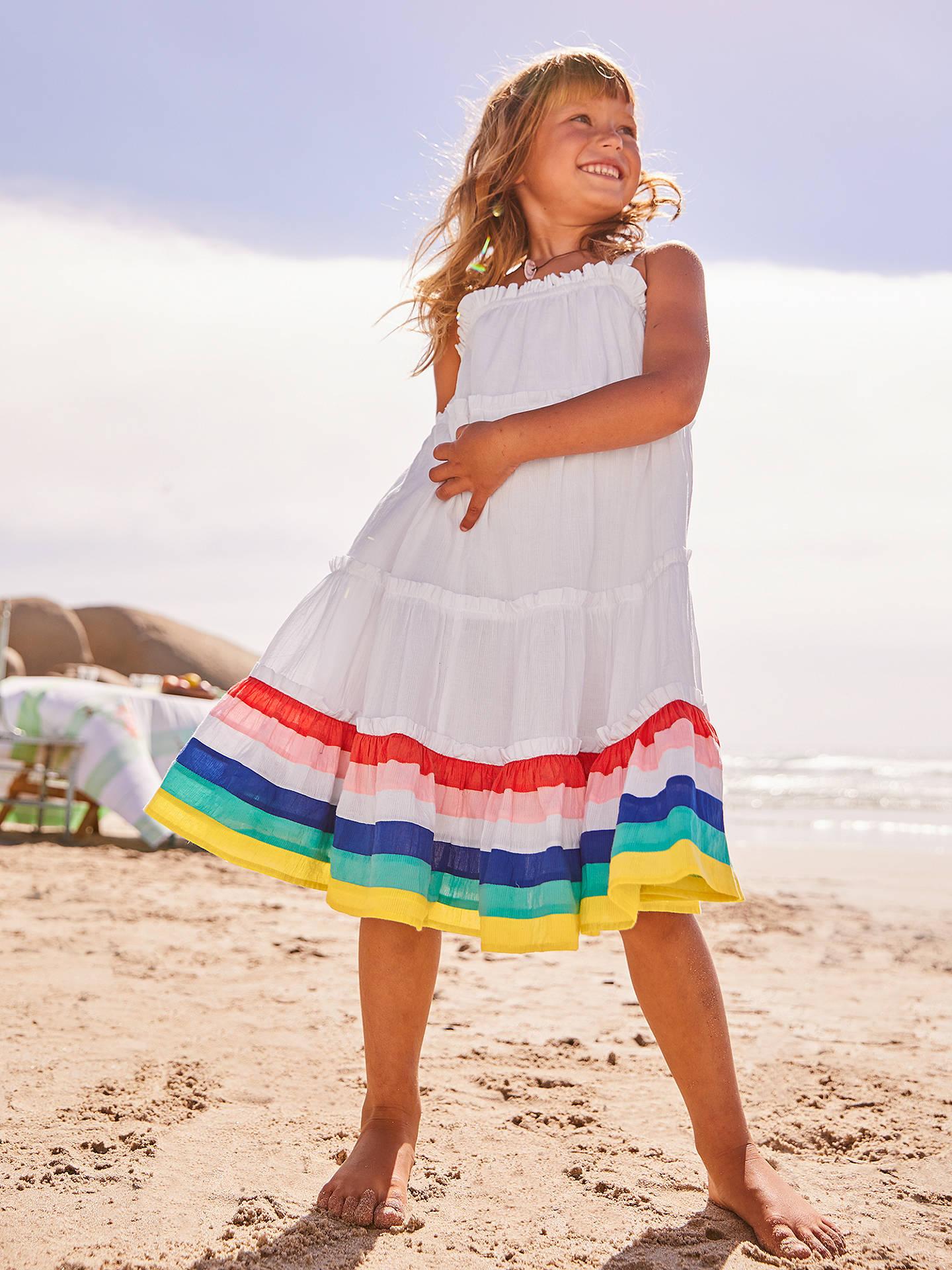 ce5ab98bb40fc Mini Boden Girls' Twirly Dress, White/Rainbow at John Lewis & Partners
