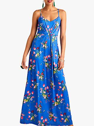 Yumi Bouquet Gathered Waist Maxi Dress, Blue/Multi