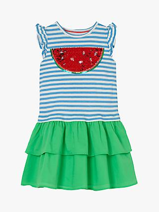 Mini Boden Girls' Watermelon Sequin Dress, Blue/Green