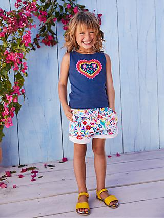 Mini Boden Girls' Heart Applique Vest Top, Blue Wave