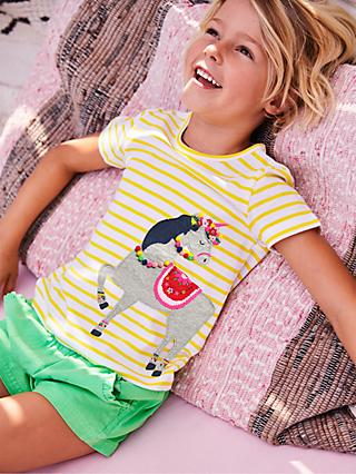 Mini Boden Girls' Unicorn Pom Pom T-Shirt, Yellow
