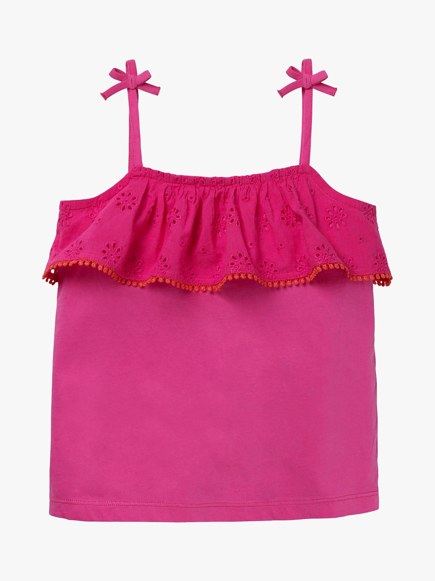 f36d38beb Buy Mini Boden Girls' Broderie Vest Top, Pink, 5-6 years Online ...