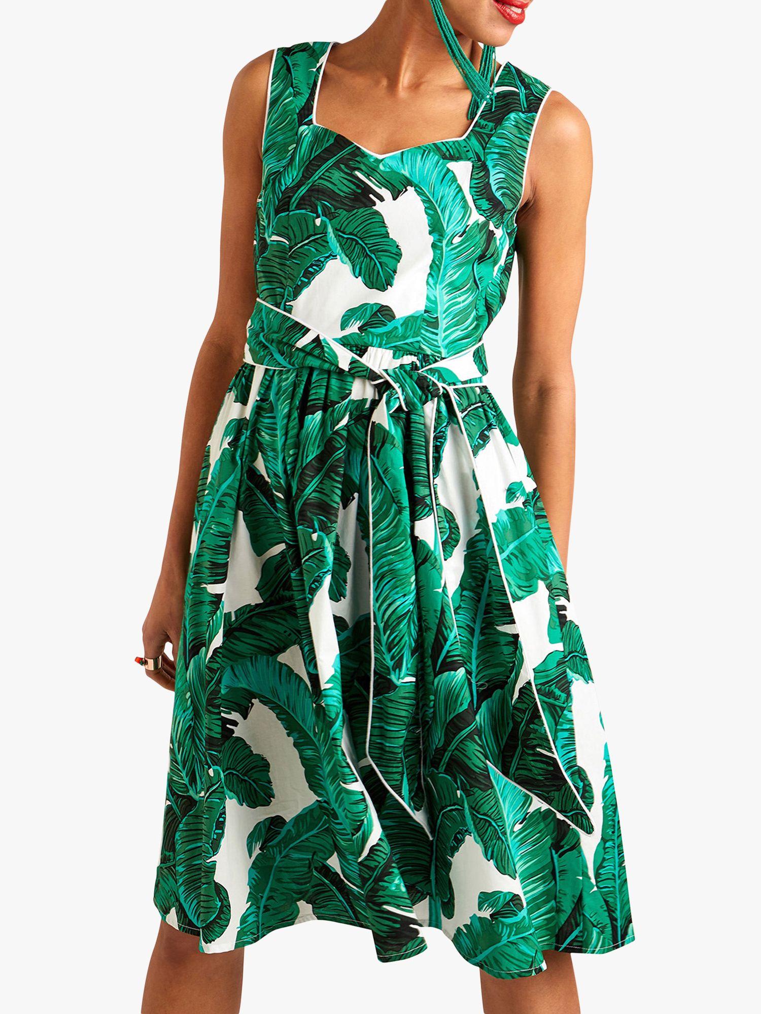Yumi Yumi Palm Print Dress, Green