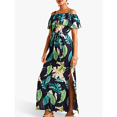 Product photo of Yumi palm print maxi dress with side splits navy multi
