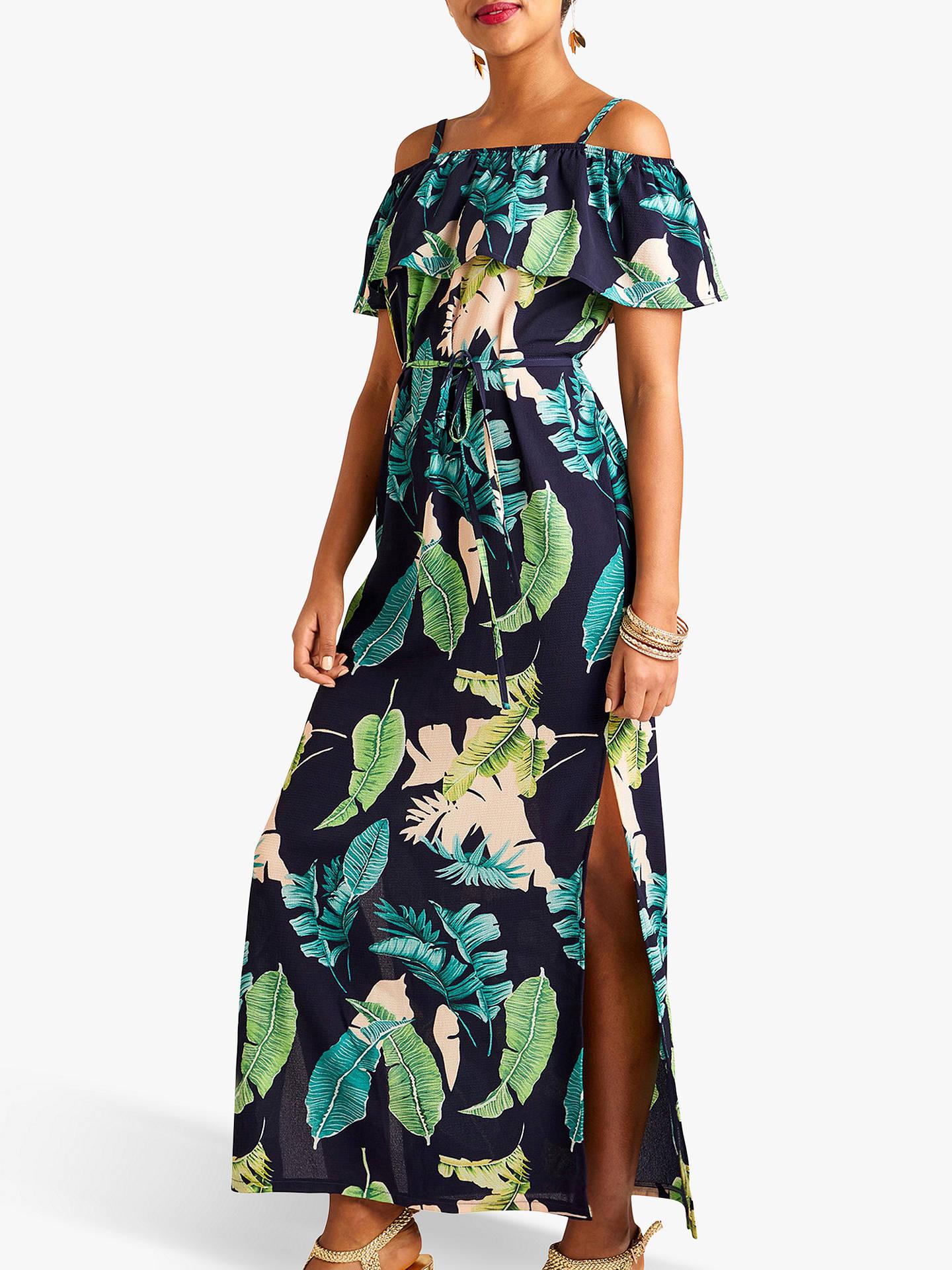 85d57a131081 Buy Yumi Palm Print Maxi Dress With Side Splits, Navy/Multi, 8 Online ...
