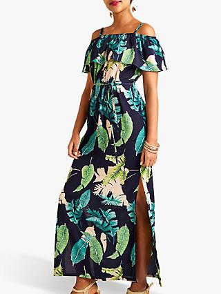 Yumi Palm Print Maxi Dress With Side Splits, Navy/Multi