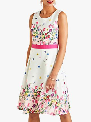 Yumi Bouquet Border Print Skater Dress, Ivory/Multi